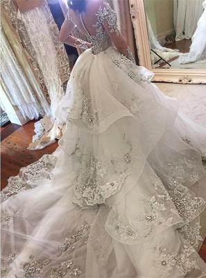 Appliques Long Sleeve Glamorous Detachable Train Tulle High-Neck Wedding Dresses Cheap Online_3