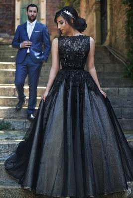 New Arrival Black Lace Prom Dresses Long Custom Made Evening Gowns  YZ032_1