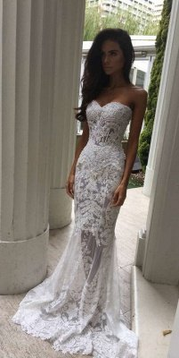 Sheer Tulle Lace Appliques Mermaid Bridal Gowns | Sweetheart Cheap Beach Wedding Dresses for Summer_4