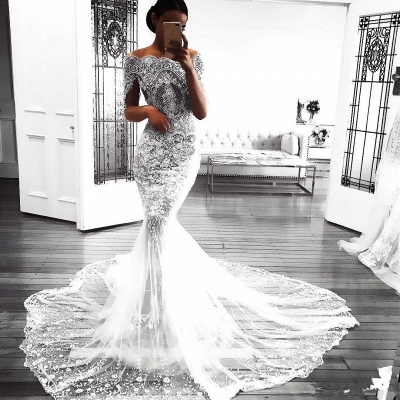 Sexy Mermaid Long Sleeve Lace Wedding Dresses Cheap | Flowers See Through Tulle Bridal Gowns_3