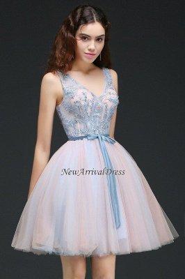 V-Neck Puffy Sky-Blue Flowers-Beaded Fairy Homecoming Dresses_2