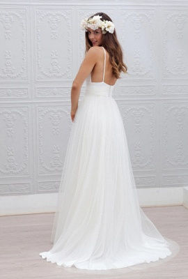 Spaghetti Strap Sexy Beach Wedding Dresses   Open Back Tulle Cheap Wedding Gowns For Summer_3