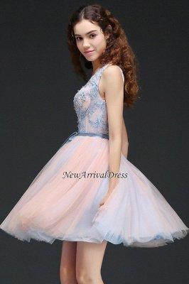 V-Neck Puffy Sky-Blue Flowers-Beaded Fairy Homecoming Dresses_3