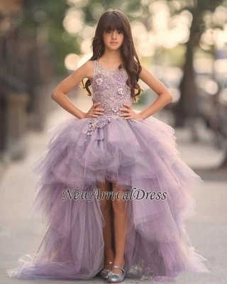 Appliques Scoop Sleeveless Glamorous Hi-Lo Tulle Pageant Dress