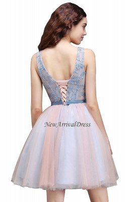 V-Neck Puffy Sky-Blue Flowers-Beaded Fairy Homecoming Dresses_5