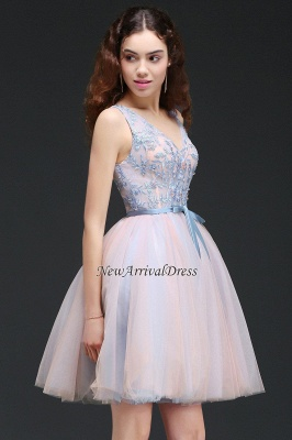 V-Neck Puffy Sky-Blue Flowers-Beaded Fairy Homecoming Dresses_4