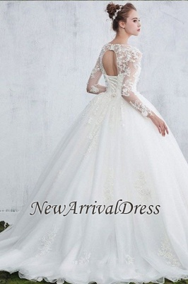 Gown Long Sleeve Ball New Arrival Lace Jewel  Elegant Wedding Dresses_1
