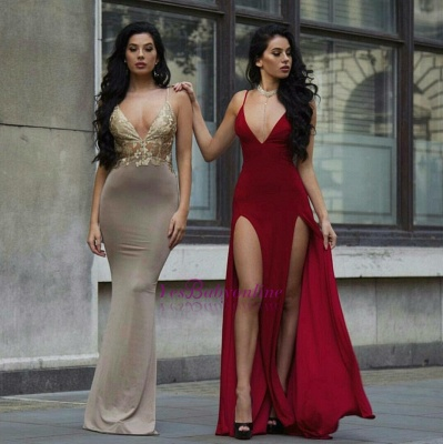 Side-Slit  Spaghetti Sexy Burgundy Long Straps Deep-V-Neck Prom Dresses_1