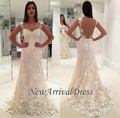 Sleeveless Straps Beautiful Lace Mermaid Open Back Elegant Wedding Dresses_1