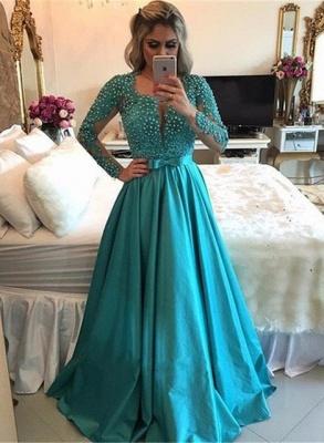 Gorgeous Long Sleeve Evening Dress | 2019 Beadings Prom Dress_1