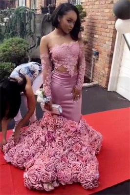 Long Sleeve Pink Lace Prom Dresses | Roses Bottom Off The Shoulder Mermaid Formal Dress Long FB0315_1