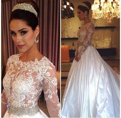 New Arrival Illusion Lace Wedding Dresses Cheap | Jewel Crystals Belt Taffeta A-line Bridal Gowns_2