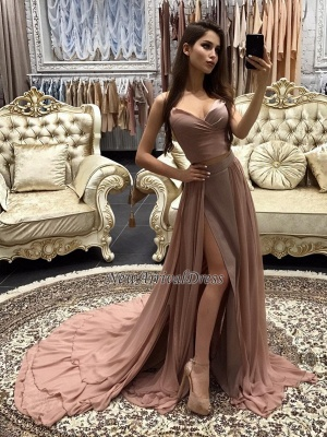 layers Long Straps Side-Slit Sexy A-line Prom Dresses_3