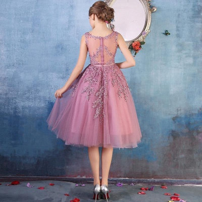 Tea-Length A-line Sheer-Neck Amazing Lace-Appliques Beaded Party Dresses_12
